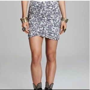 Free People Floral Ruched Mini Skirt